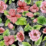 Beautiful pink begonia flowers with leaves on black background. Seamless floral pattern. Watercolor painting. Hand painted botanical illustration. Wallpaper Vector Illustration