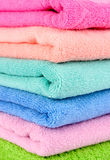 Beautiful pink, blue,green towels Stock Photography