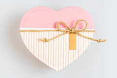 Beautiful pink box in heart shaped, wedding and valentine gift. Royalty Free Stock Photo