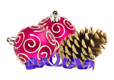 Beautiful pink Christmas balls and pine cone isolated on white Royalty Free Stock Images