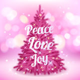 Beautiful pink christmas tree with greetings Royalty Free Stock Photos