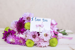 Beautiful  pink  chrysanthemums bouquet with i love you card Royalty Free Stock Images