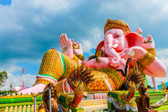 Beautiful Pink Clining Ganesh Sculpture Stock Image