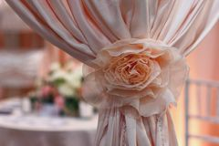 Beautiful pink curtains in the wedding banquet room. Interior royalty free stock photography