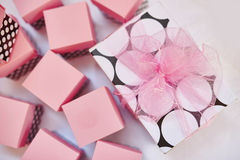 Beautiful pink decor with boxes for birthday Stock Images