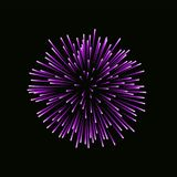Beautiful pink firework. Bright firework isolated on black background. Light purple decoration firework for Christmas. New Year celebration, holiday, festival Stock Photography