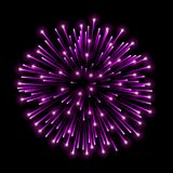 Beautiful pink firework. Bright salute isolated on black background. Light decoration firework for Christmas, New Year. Celebration, holiday, festival, birthday Stock Images