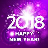 Beautiful pink fireworks with  greetings  Happy New Year 2018!. Beautiful pink fireworks with a bright flash of light and the greetings  Happy New Year 2018 Stock Photo