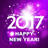 Beautiful pink fireworks with  greetings  Happy New Year 2017! Royalty Free Stock Image