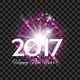 Beautiful pink fireworks with  greetings  Happy New Year 2017! o. Beautiful pink fireworks with a bright flash of light and greetings Happy New Year 2017! on a Royalty Free Stock Photo