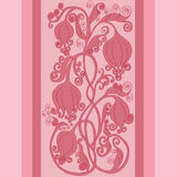 Beautiful pink floral border. Background with floral decorative border,banner stock illustration