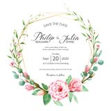 Beautiful pink floral wedding invitation card on white background. Vector, water color. Beautiful pink floral, flower wedding invitation card on white stock illustration