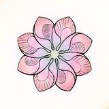 Beautiful pink flower. Painted Sketch. Stock Photos