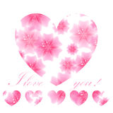 Beautiful pink flowered heart on white background. Greeting card Royalty Free Stock Photos