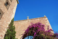 Beautiful pink flowers and ancient gate in El Puig Stock Image