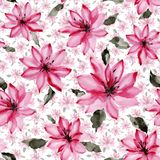 Beautiful pink flowers with leaves on white background. Seamless floral pattern. Watercolor painting. Hand painted botanical illustration. Wallpaper, textile vector illustration