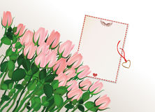 Beautiful pink flowers. Roses with blank and gift Pendant Stock Image