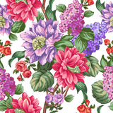 Beautiful pink flowers witn lilac and green leaves. Stock Images