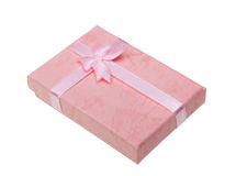 Beautiful pink gift isolated on white Stock Images