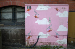 Beautiful pink grafiti for kids decorates cities. Colorful childish paintings over the city objects, not only for kids Royalty Free Stock Image