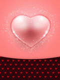 Beautiful pink heart background. Illustration of Valentine's Day card with pink glass heart background Royalty Free Illustration