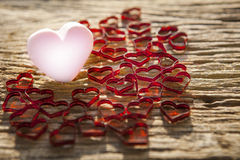 Beautiful pink heart icon with lovely red heart on Royalty Free Stock Photography