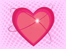 Beautiful pink hearts with shine on halftone effect background Stock Photo