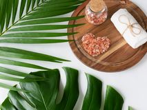 Pink Himalayan salt and towel on wooden plank, monstera and palm leaves. Beautiful pink Himalayan salt placed in heart shape and towel on wooden plank. Decorated royalty free stock photography