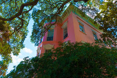 Beautiful pink Home in Charleston South Carolina Royalty Free Stock Image