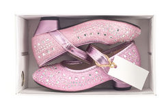 Beautiful pink kid shoes in box Stock Images