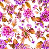 Beautiful pink lantana flowers with orange leaves on white background. Seamless floral pattern. Watercolor painting. Beautiful pink lantana flowers with orange Stock Photo