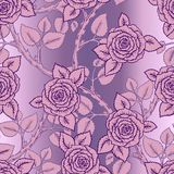 Beautiful pink and lilac seamless pattern roses Stock Image