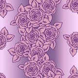 Beautiful pink and lilac seamless pattern roses Stock Photo