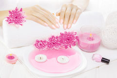 Beautiful pink manicure with chrysanthemum and towel on the white wooden table. spa Stock Photography