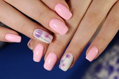 beautiful pink manicure Royalty Free Stock Photography