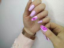 beautiful pink nails stock image