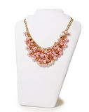 Beautiful pink necklace on a mannequin Royalty Free Stock Photography