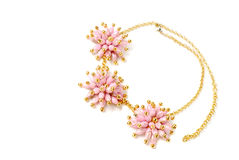 Beautiful pink necklace on a mannequin Stock Images