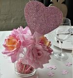 Pink paper roses with pink glitter heart for bridal shower royalty free stock images
