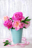 Beautiful pink peony bouquet in vase Stock Images