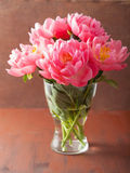 Beautiful pink peony flowers bouquet in vase Royalty Free Stock Photos