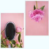 Beautiful pink peony flowers and haircomb on a pink background. Photo set stock photography