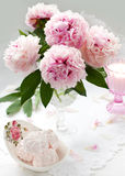 Beautiful pink peony and sweets Royalty Free Stock Image