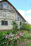 Flowers Blooming by Old Fashioned Log Home stock images