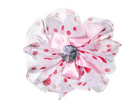 Beautiful pink or red bow - hairpin Royalty Free Stock Photos