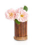 Beautiful pink rose flower in vase Royalty Free Stock Photo