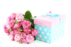 Beautiful pink rose with gift box Stock Images