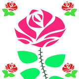 Beautiful pink rose. With green leaves illustration vector Royalty Free Stock Images