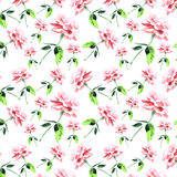 Beautiful pink rose seamless pattern watercolor hand sketch Royalty Free Stock Photos