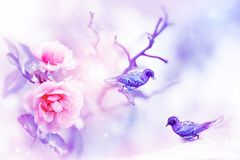 Free Beautiful Pink Roses And Small Purple And Blue Fantastic Birds In The Snow And Frost. Artistic Spring And Winter Natural Image. Stock Photography - 122258002